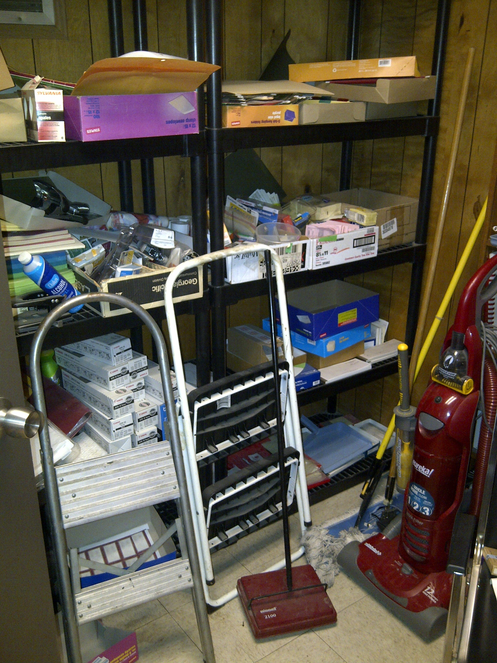 office supplies storage. BEFORE Center Shelves Office Supplies Storage Room  Sensible Organizing Solutions