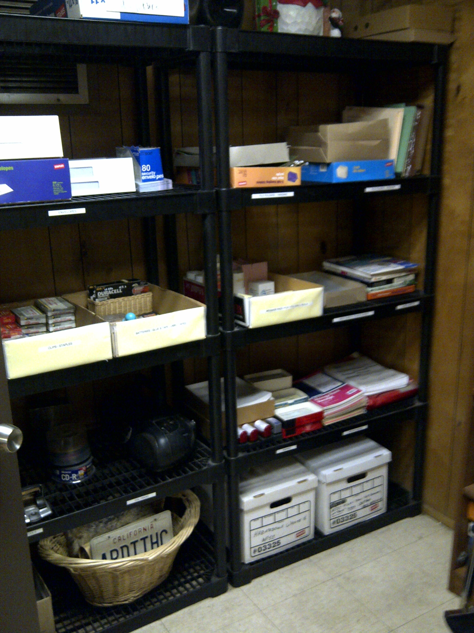 office supplies storage. AFTER Center Shelves Office Supplies Storage Room  Sensible Organizing Solutions